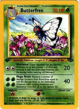 Pokemon Butterfree (Jungle) #33/64 unlimited edition  near mint card #33/64 uncommon