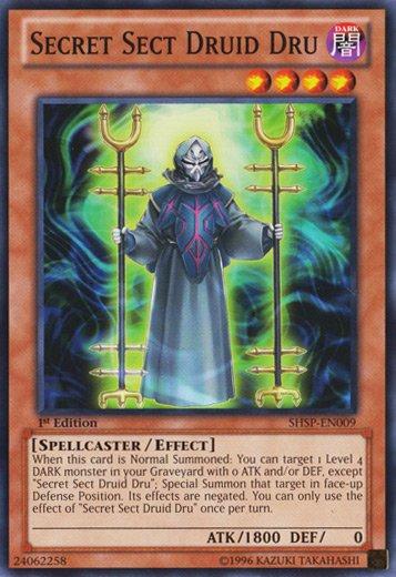 Yugioh Secret Sect Druid Dru (SHSP-EN009) 1st edition near mint card Common