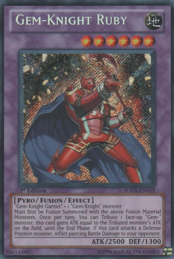 Yugioh Gem-Knight Ruby (HA05-EN019) 1st edition Secret Rare Holo near mint card