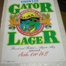 Vintage 1988 Gator Lager Beer Poster (extremely rare) 23 x 34 inches