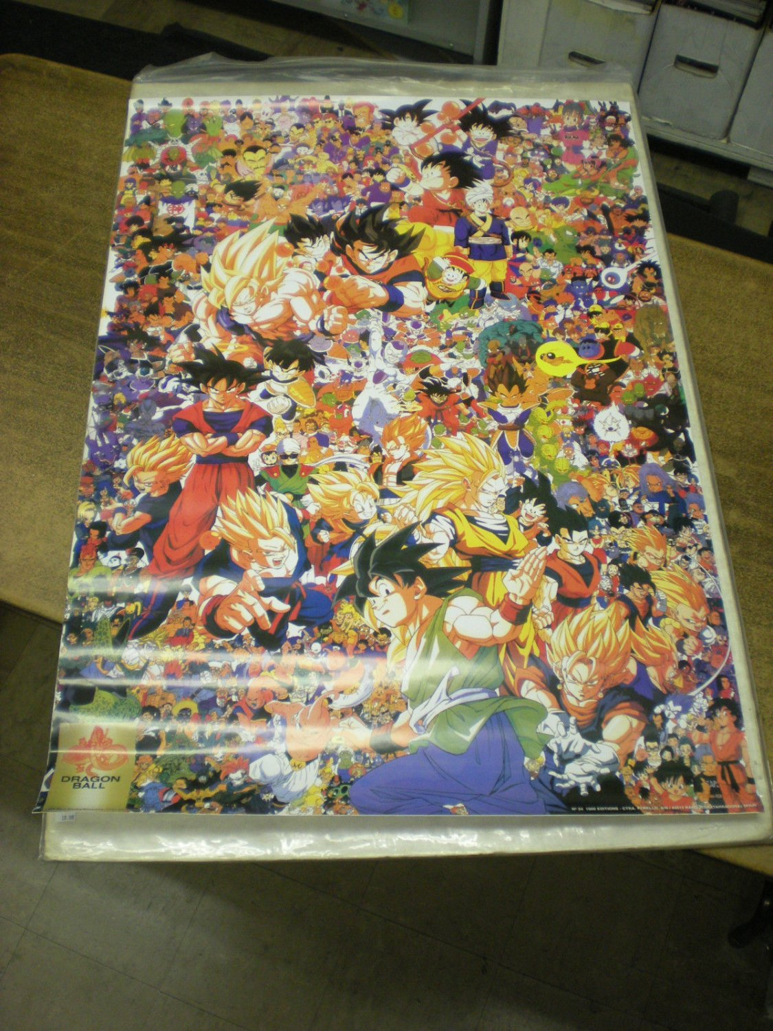 GIGANTIC HUGE VINTAGE 1989 DRAGONBALL CHARACTER COLLAGE POSTER 26 x 39 inches