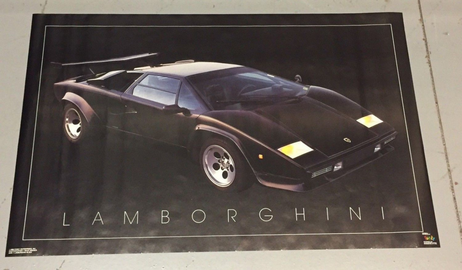 Vintage 1988 Black Lamborghini Poster (22 x 34 inches) never