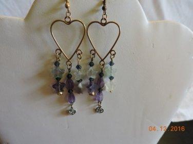 Fluorite and Swarovski Heart Earrings Set