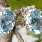 Sterling Silver Blue Topaz Ear Tops