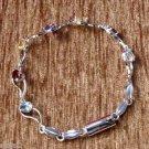 Tennis Bracelet Garnet BT Citrine Amethyst 925 Sterling Silver 8x0.30inch (281)