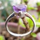 925 Fine Sterling Silver Ring Heart shape stone Amethyst Jewellery size 8 (111)