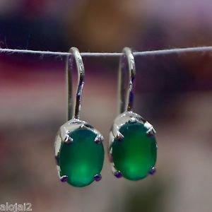 925 Sterling Silver Dangle Earring Gemstone Green Onyx 0.65 x0.25 handmade (520)