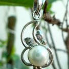 White Pearl Pendant 92.5 Sterling Silver Handmade  7mm Round (221)