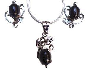 92.5% Sterling Silver Pendant Eartops Nature Inspired Black Onyx Gemstone (409)