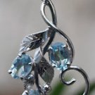 925 Sterling Silver Natural Gemstone Blue Topaz Pendant 1.85 x 0.80  (615)