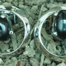 Sterling Silver 92.5% stud Earring Black Onyx Circle 0.45 x 0.45 inch (368)
