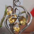 Sterling Silver 92.5% Heart Pendant Natural Citrine Gemstone Jewellery (506)