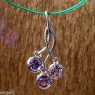 Sterling Silver 92.5% Pendant Purple 3 Amethyst Gemstone 1.25x0.60 inch (252)