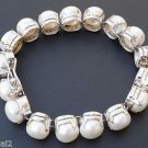 925 Sterling Silver White Round Big Pearl 10mm Tennis Bracelet handmade (502)