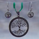 Earrings and Pendant Set Tree of Life Solid Sterling Silver 92.5%  (532)