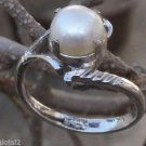 Solid Sterling Silver 92.5% Ring Pearl 7.38 mm Round size 6 Solitaire  (731)