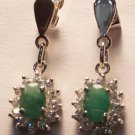 925 Sterling Silver Natural Emerald with simulated Diamond Cluster Earring (739)