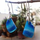 925 Sterling Silver Earrings Sky Blue Dyed Agate Hnadmade 1.50 x 0.45 inch (43)