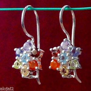 "Solid Sterling Silver 92.5% Earrings Chakra Dangle Gemstones 0.95x0.40"" (282)"