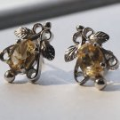 Sterling Silver 92.5% Eartops Studs Citrine Gemstone (770)