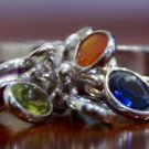 925 Solid Sterling Silver Chakra Ring Size 7.7 Band Amethyst Peridot red (536)