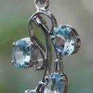 Sterling Silver 92.5% Pendant Natural Blue Topaz Gemstone Handmade  (628)