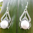92.5% Sterling Silver Earring Natural White Pearl  Handmade 1.40x0.50 inch (14)