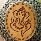 92.5% Sterling Silver Pendant wood carved Lord Ganesh 2.70 x 1.90 inch (336)