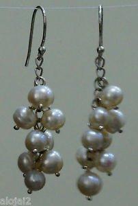"92.5% Sterling Silver Earring White Pearl Gemstone 2.00x0.55"" Handmade (576)"