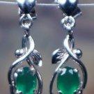 Earrings Handmade Gemstone Green Onyx 92.5% Sterling Silver 1.05 x0.30Inch (334)