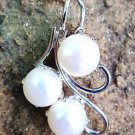 Sterling Silver 92.5% Pendant Natural white Pearl 1.30 x 0.75 inches (185)