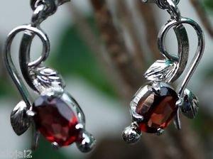 Earrings Handmade 92.5% Sterling Silver Garnet Red gemstone 1.0 x0.40 Inch (242)