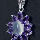 Designer Pendant Marquise Amethyst & oval Moonstone 925 Sterling Silver (527)