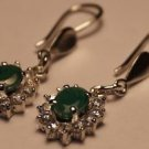 925 Sterling Silver Natural Emerald with simulated Diamond Cluster Earring (738)