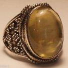 "Sterling Silver 92.5% Ring Golden Rutile Natural Gemstone size 9"" Handmade (723)"