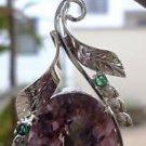 "Pendant Amethyst & Natural Emerald Gemstone 92.5% Sterling Silver 2.10x1.0"" (22)"