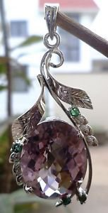 "Pendant Amethyst & Natural Emerald Gemstone 92.5% Sterling Silver 2.10x1.0"" (22)"
