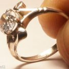 Solid Sterling Silver 92.5% Ring Simulated Diamond size 6.8 Solitaire (712)