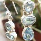 Sterling Silver 92.5% Blue Topaz Dangle Earring Natural Gemstone (388)