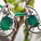 "92.5% Sterling Silver Earring Gemstone Green Onyx 0.80 x 0.40"" handmade (142)"