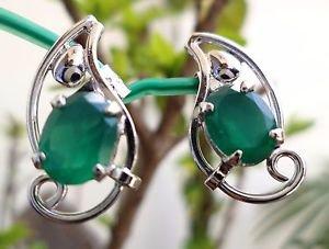 "92.5% Sterling Silver Earring Gemstone Green Onyx 0.80 x 0.40"" handmade (142)"