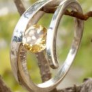 92.5% Solid Sterling Silver Ring Gemstone Citrine  size 8.00  Solitaire  (220)
