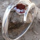 Solid Sterling Silver 92.5% Ring Gemstone Garnet  size 8.1  Solitaire  (760)
