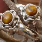 92.5% Sterling Silver Toe Rings Pair Gemstone Tiger Eye Adjustable (478)