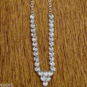 Necklace Blue Topaz Gemstone 92.5% Sterling Silver 17.5 Inches Length (279)
