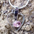 Sterling Silver 92.5% Heart Pendant Pink AD zirconia 1.20 x 0.60 inches (50)