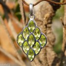 Sterling Silver 92.5% Pendant Natural Gemstone Peridot 1.53 x 0.80 inches (561)