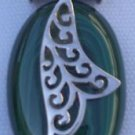 "Pendant natural Gemstone Melachite Sterling Silver 92.5% Handmade 1.75x1.00""(406"