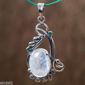 """Sterling Silver 92.5% Emerald Pendant Oval Big Moonstone Round 1.60""""x0.80"""" (261)"""