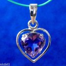 92.5% Sterling Silver Heart Pendant Purple Amethyst Gemstone 1.00x0.55 inch(258)